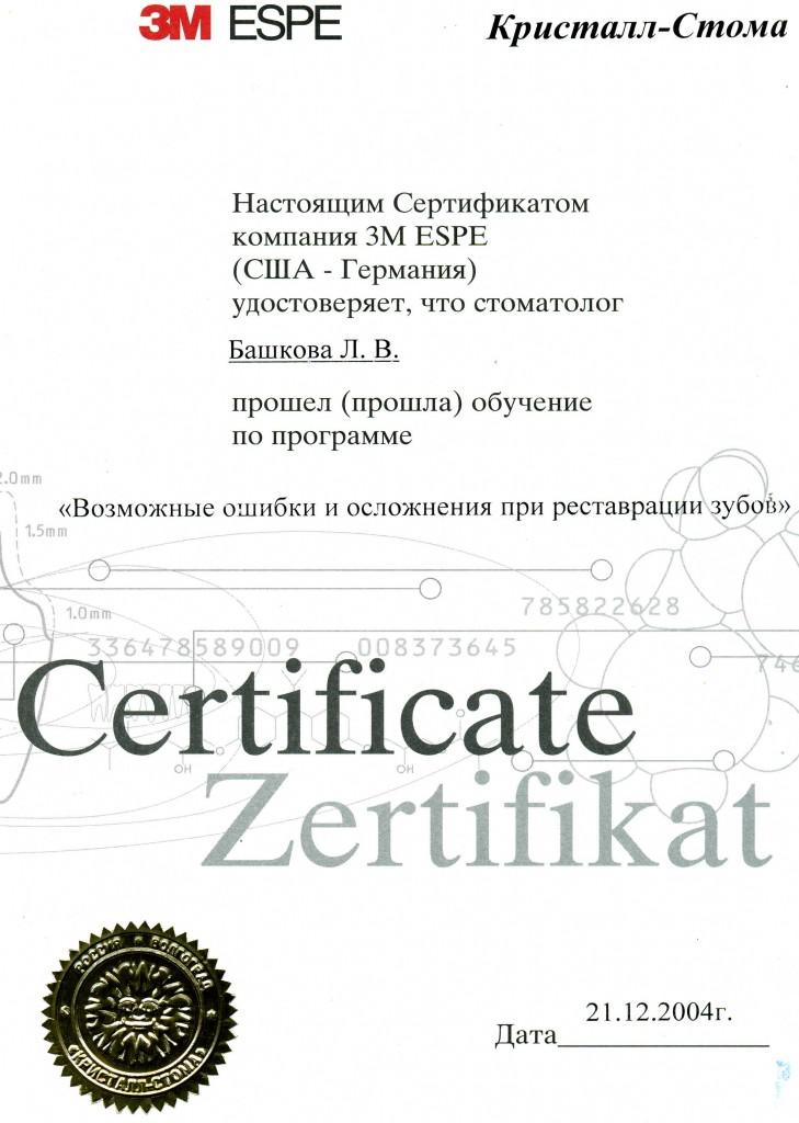 """Сертификат обучения по программе """"Возможные ошибки и осложнения при реставрации зубов"""""""